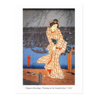 Tarde de Hiroshige en el arte del japonés del río Postal