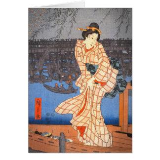 Tarde de Hiroshige en el arte del japonés del río Tarjeta De Felicitación