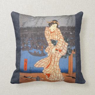 Tarde de Hiroshige en el río de Sumida Cojín