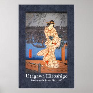 Tarde de Hiroshige en la voluta del río de Sumida Póster