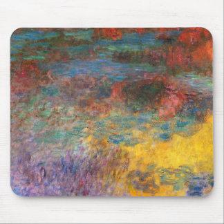 Tarde de la charca del lirio de agua de Monet Alfombrillas De Ratones