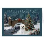 Tarde de la tarjeta de Navidad de Bichon Frise