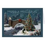 Tarde de la tarjeta de Navidad de cocker spaniel