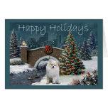 Tarde de la tarjeta de Navidad de Pomeranian