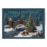 Tarde de la tarjeta de Navidad de Sheltie