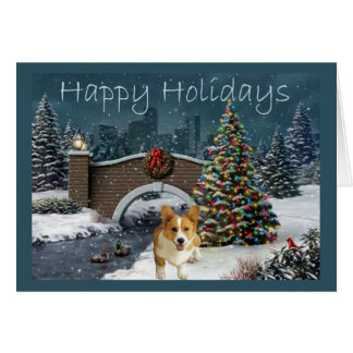 Tarde de la tarjeta de Navidad del Corgi Galés del