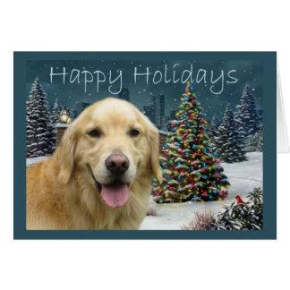 Tarde de la tarjeta de Navidad del golden retrieve