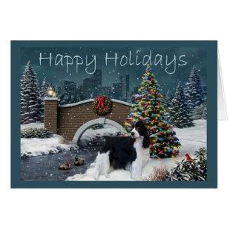 Tarde de la tarjeta de Navidad del perro de aguas