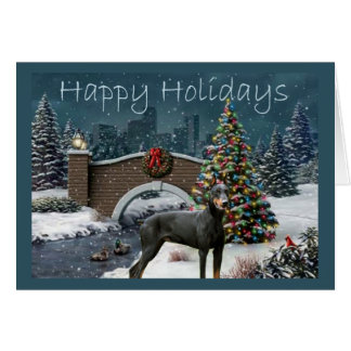 Tarde de la tarjeta de Navidad del Pinscher del Do