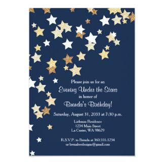 """Tarde debajo de las estrellas con brillo del oro invitación 5"""" x 7"""""""