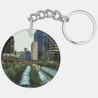 Tarde del Gran Canal en la ciudad de Hong Kong Llavero Redondo Acrílico A Doble Cara