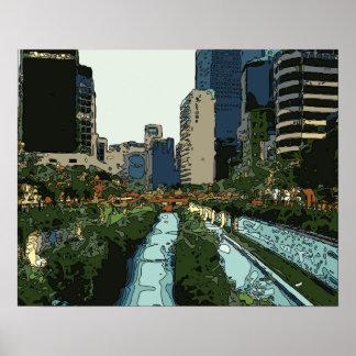Tarde del Gran Canal en la ciudad de Hong Kong Poster