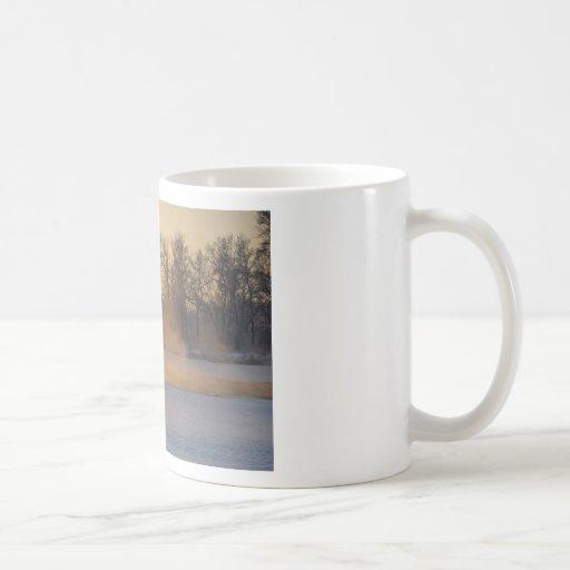 Tarde del invierno por el lago congelado tazas de café