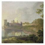 Tarde del verano (castillo) de Caernarvon c.1764-6 Azulejo Ceramica