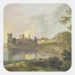 Tarde del verano (castillo) de Caernarvon Calcomanía Cuadrada