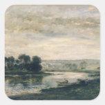 Tarde en el Oise, 1872 Calcomanías Cuadradas Personalizadas