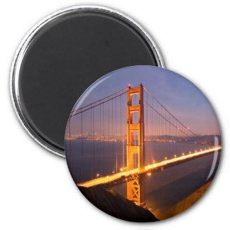 """Tarde en imanes de puente Golden Gate"" Imán Redondo 5 Cm"