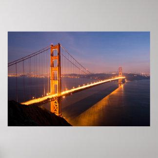 Tarde en la impresión de puente Golden Gate Posters