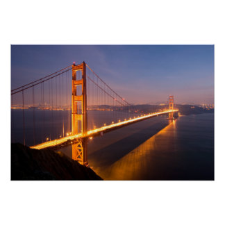 Tarde en la impresión de puente Golden Gate Póster