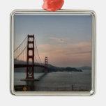 Tarde en puente Golden Gate Adorno Cuadrado Plateado