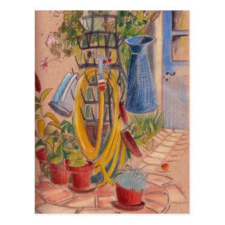 Tarde en una postal francesa soleada del jardín