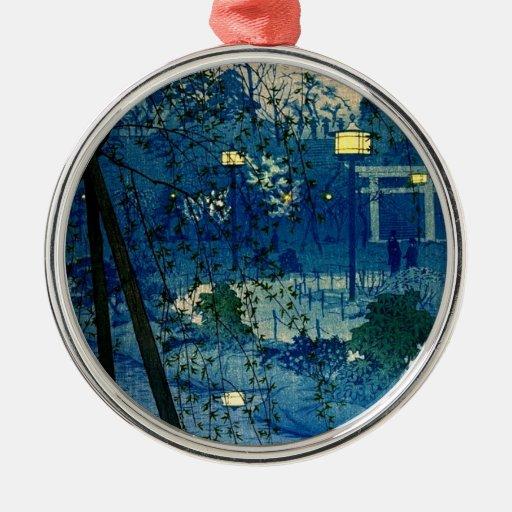 Tarde japonesa del vintage en azul ornamentos para reyes magos
