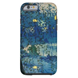 Tarde japonesa del vintage en azul funda de iPhone 6 tough