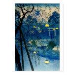 Tarde japonesa del vintage en azul postal