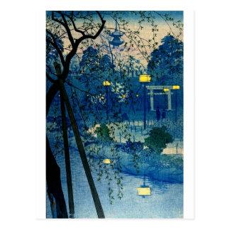 Tarde japonesa del vintage en azul tarjetas postales
