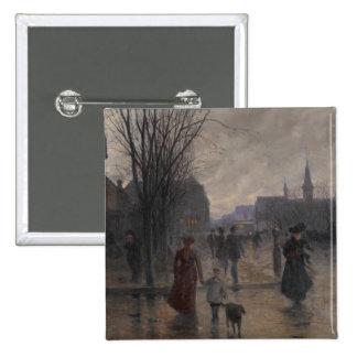 Tarde lluviosa en la avenida de Hennepin, c.1902 Pin Cuadrado