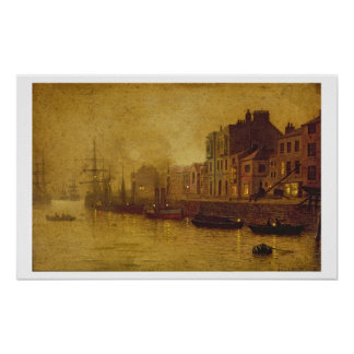 Tarde, puerto de Whitby, 1893 (aceite a bordo) Posters