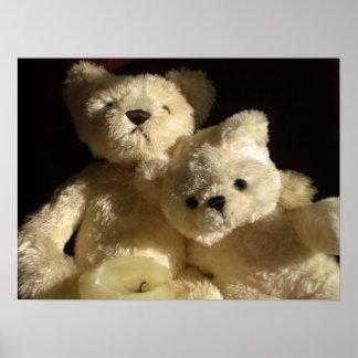 Tarde romántica de los osos de peluche póster