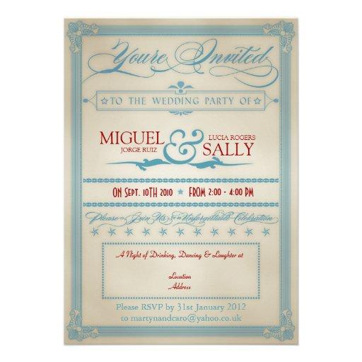 Tarde-Solamente blanca del vintage y azul roja del Invitaciones Personalizada