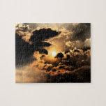 Tarde Sun con el cielo nublado Puzzle