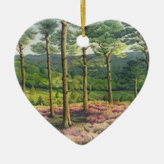 Tarde Sun, cumpleaños del pastel de los pinos de Adorno Navideño De Cerámica En Forma De Corazón