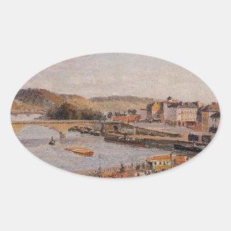 Tarde, Sun, Ruán de Camille Pissarro Pegatina Ovalada