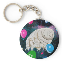 Tardigrade in Space with Balloons Keychain