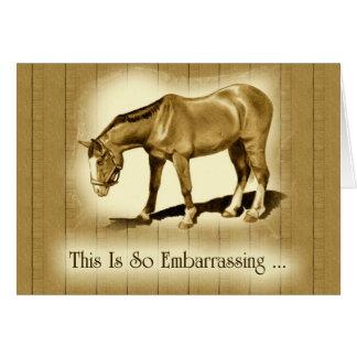 Tardío gracias: Dibujo del caballo: Avergonzado Felicitación