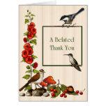 Tardío gracias: Pájaros, flores, naturaleza, jardí Felicitacion