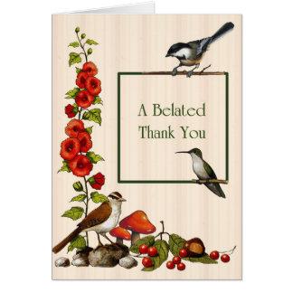 Tardío gracias: Pájaros, flores, naturaleza, Tarjeta De Felicitación