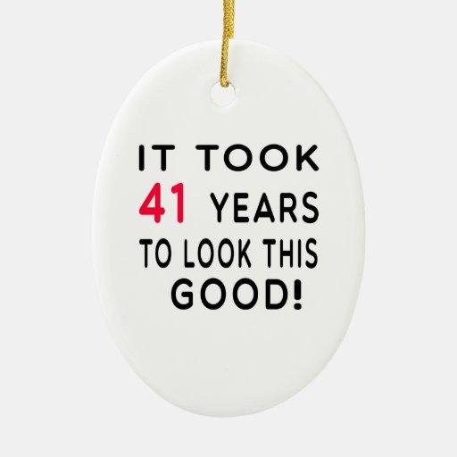 Tardó 41 años de diseños del cumpleaños adorno ovalado de cerámica