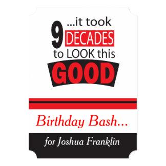 """Tardó 9 décadas para mirar esto 90.o cumpleaños invitación 5"""" x 7"""""""
