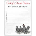 Tareas de la granja de la familia, pollos del reco pizarras blancas