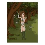 Taren la postal del chica del duende del guerrero
