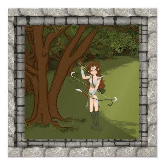 Taren the Archer Warrior Elf Girl Invitaion 5.25x5.25 Square Paper Invitation Card