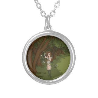 Taren the Archer Warrior Elf Girl Round Pendant Necklace