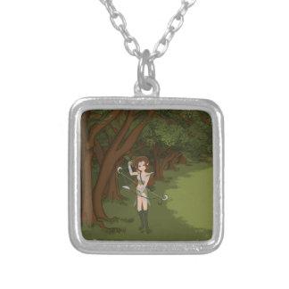 Taren the Archer Warrior Elf Girl Square Pendant Necklace