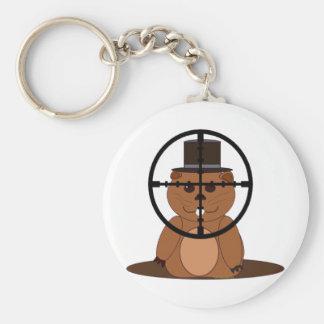 Target: groundhog basic round button keychain