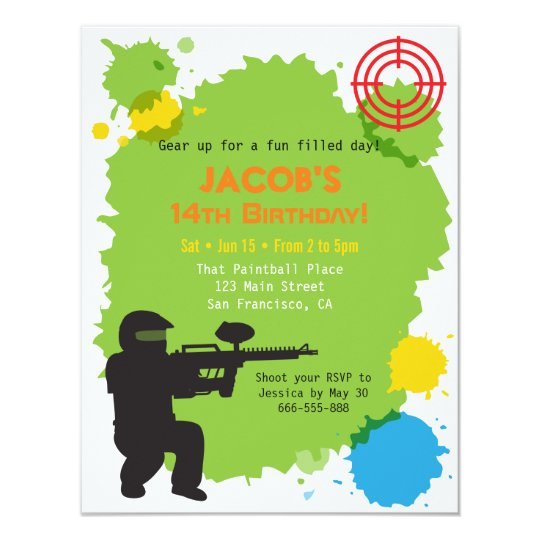 target locked paintball birthday party invitations  zazzle, Party invitations