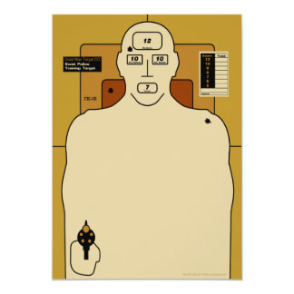 Target Paper, Gun Man Shooting Target 5x7 Paper Invitation Card